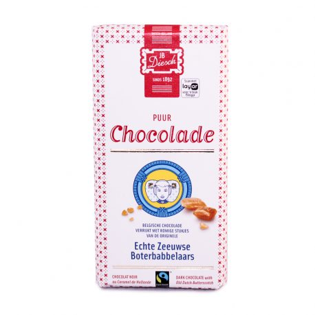 Chocoladerepen zijn er in vele soorten en maten, maar de smaak van de repen van JB Diesch, gemaakt van Belgische fairtrade chocolade, is uniek. De repen zijn verrijkt met romige stukjes Echte Zeeuwse Boterbabbelaar, waardoor ze met geen enkele andere reep te vergelijken zijn. Het is ouderwets genieten van een nieuwe smaak.